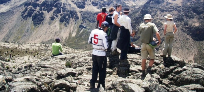 A group of tourists in a Mt. Kenya Climbing Expedition with Animal World Safaris